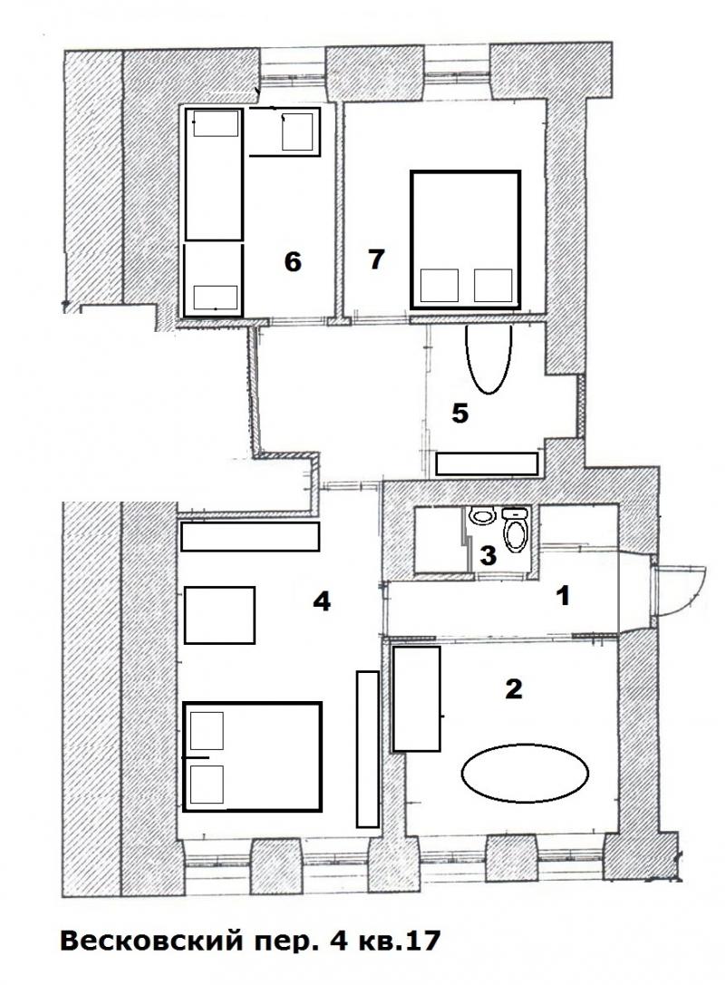 5-к квартира, 70 м2, 1/4 эт. Сдам посуточно