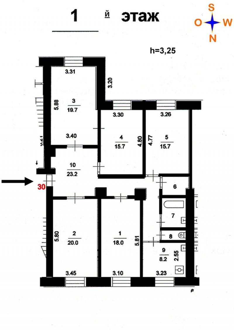 5-к квартира, 130 м2, 1/5 эт.