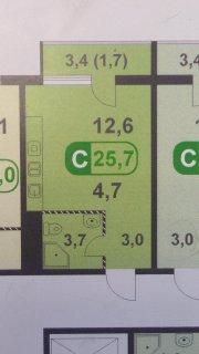 1-к квартира, 25 .7  м2, 6/17 эт.