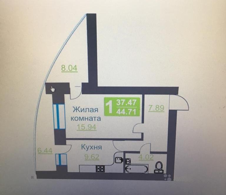 1-к квартира, 37 м2, 2/17 эт.