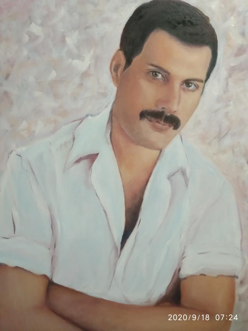 продам портрет Фреди Меркури . Масло, холст на картоне,  50*60