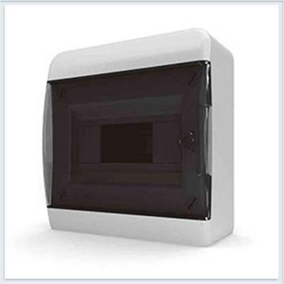 Бокс навесной 8 модульный IP40, прозрачная черная дверца, Tekfor