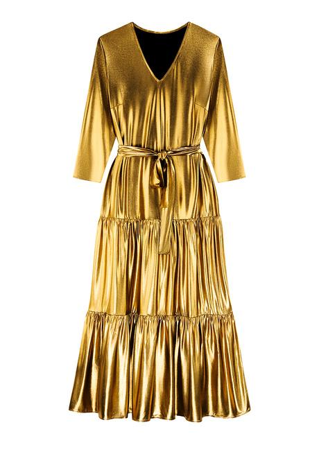 Длинное платье из тонкого, струящегося трикотажа с блестящим напылением.