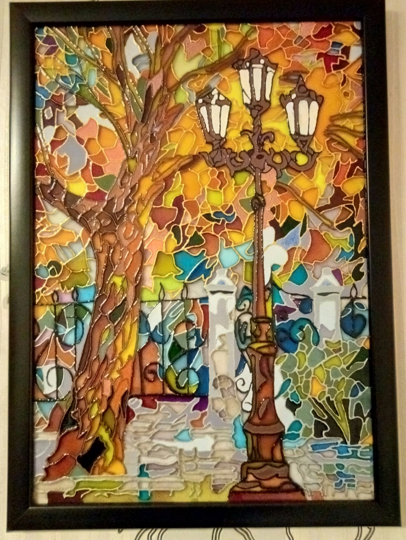 Картина на стекле-витражная роспись
